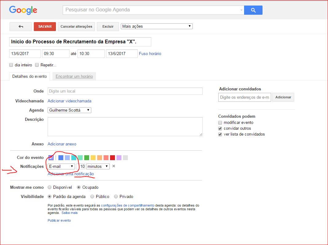 alerta agenda do google
